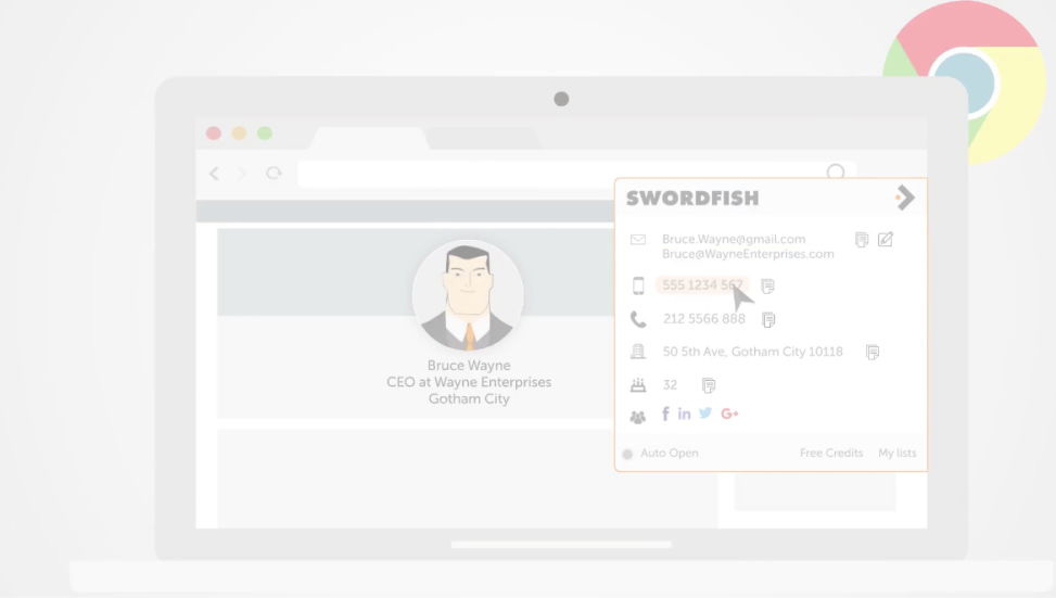 Swordfish: Find cell phone numbers & emails